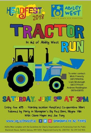 Headfest Tractor Run on Saturday 2nd June