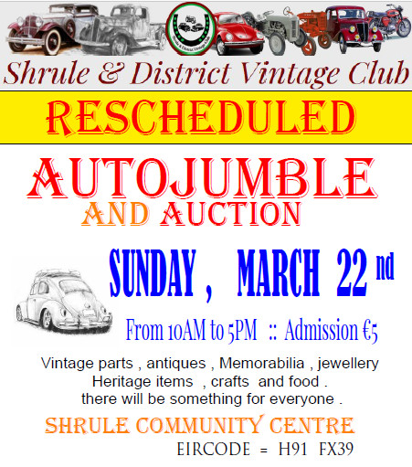 NEW DATE for Autojumble :: March 22nd